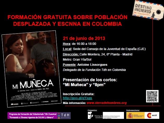 Formación sobre Población Desplazada y Explotación Sexual de Niños, Niñas y Adolescentes en Colombia. Viernes 21