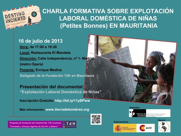 Formación sobre Explotación Laboral Doméstica de Niñas (Petites Bonnes) en Mauritania. Martes 16 de julio. 17.00 horas