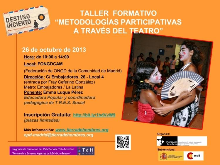 Taller formativo Metodologías participativas a través del teatro