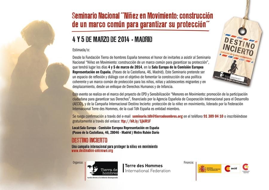 """Tierra de hombres organiza el Seminario """"Niñez en Movimiento: construcción de un marco común para garantizar su protección"""" los días 4 y 5 de marzo en Madrid"""