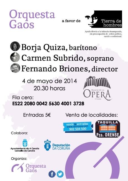 Concierto en Galicia a favor de la infancia de Tierra de hombres . 4 de mayo. 20:30 horas. Palacio de la Opera de A Coruña