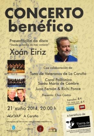 Concierto solidario de Xoán Eiriz en A Coruña, el 21 de junio, organizado por la Delegación de Tierra de hombres en Galicia