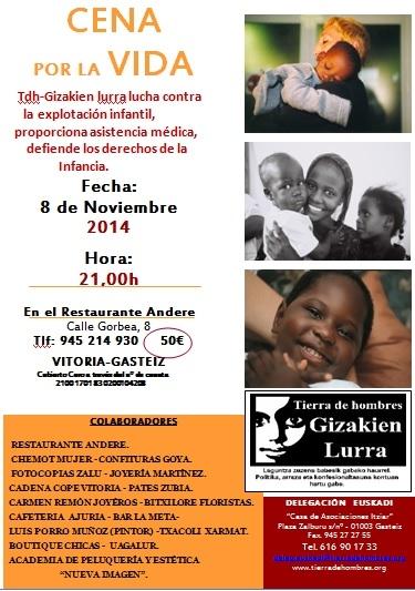 Cena solidaria en Euskadi a favor de Tierra de hombres