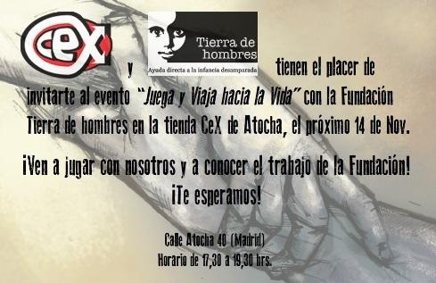 «Juega y Viaja hacia la Vida», un evento para toda la familia en la tienda de videojuegos CEX. Viernes 14 de noviembre. 17.30 horas. Madrid