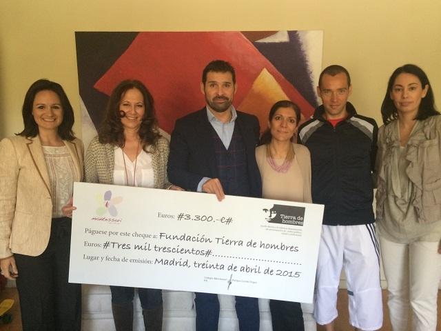 """El Colegio Montessori Conde de Orgaz entrega los 3000 euros recaudados  del """"V Cross Montessori""""  a Fundación  Tierra de hombres"""