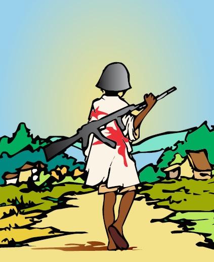 ilustración niño soldado