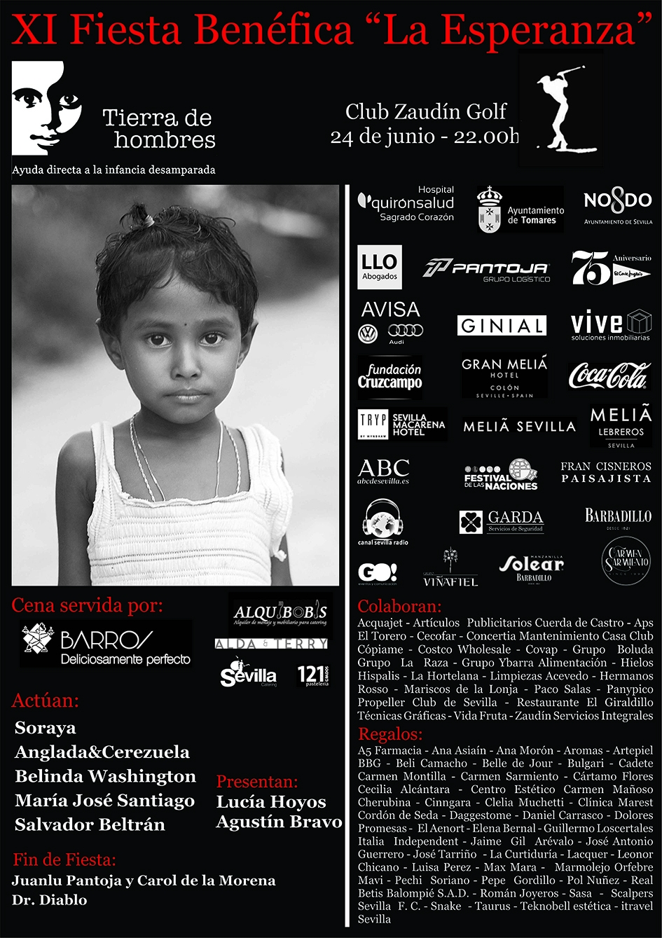 Tierra de hombres celebra el viernes 24 la  XI edición de la «Fiesta de la Esperanza» para ayudar a la infancia más necesitada