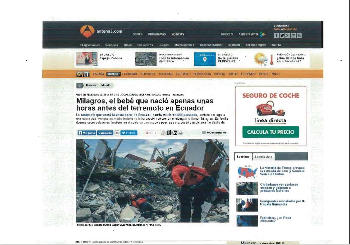 Pressclipping Terremoto ecuador pantallazo