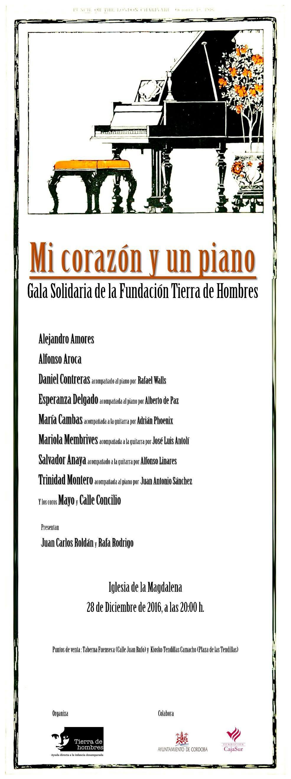 «Mi corazón y un piano». Gala Solidaria en Córdoba a beneficio de «Viaje hacia la Vida»