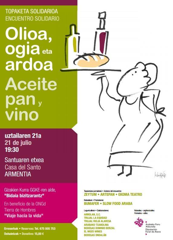 La delegación de Tierra de hombres en Euskadi te invita mañana al encuentro solidario «Aceite, pan y vino»