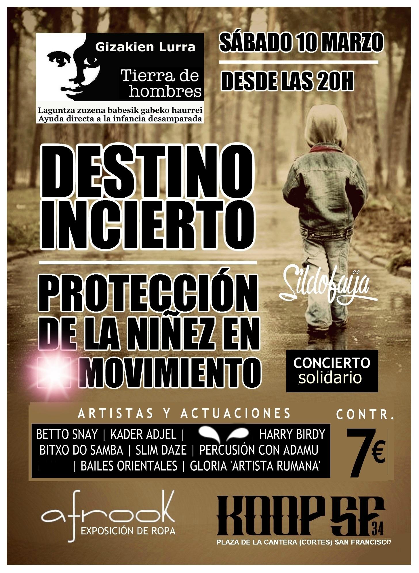 Concierto solidario por la campaña «Destino Incierto» el sábado 10 de marzo en Koop SF 34 (Bilbao)